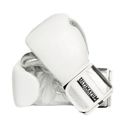 Кожаные боксерские перчатки на липучке, белый с серебром цвет