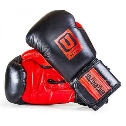 Спарринговые боксерские перчатки чёрный с красным