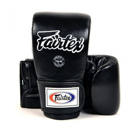 Тайский бокс перчатки Fairtex снарядные с закрытым пальцем на липучке черный