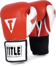 Изображение Тренировочные гелевые перчатки (на липучке) TITLE GEL® красно-белый 16 oz