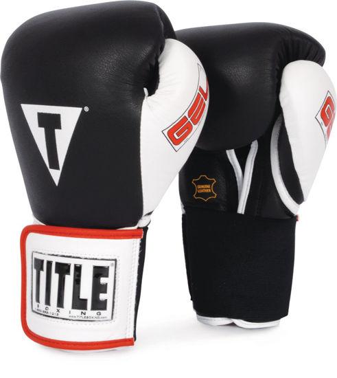 Изображение Тренировочные гелевые перчатки (на липучке) TITLE GEL® черно-белый
