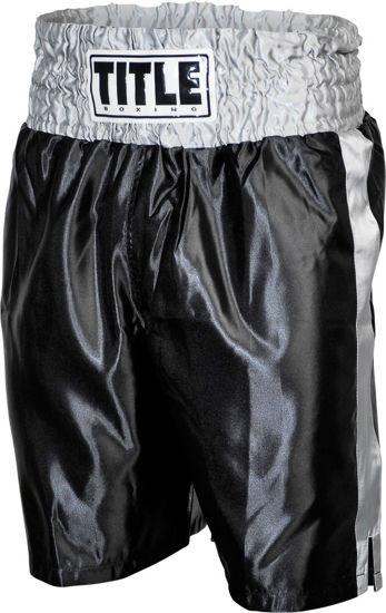 Изображение Классические шорты для бокса Title чёрно-серебрянный