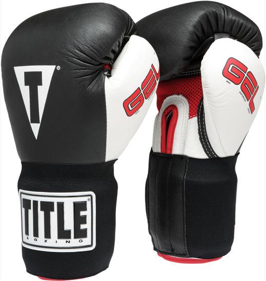 Изображение Перчатки боксерские на липучке TITLE GEL INTENSE черный/белый