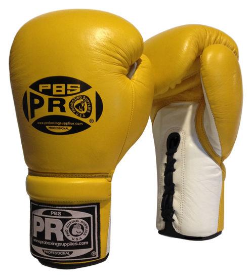 Изображение Профессиональные перчатки для бокса (на шнуровке) желтый 12 унций
