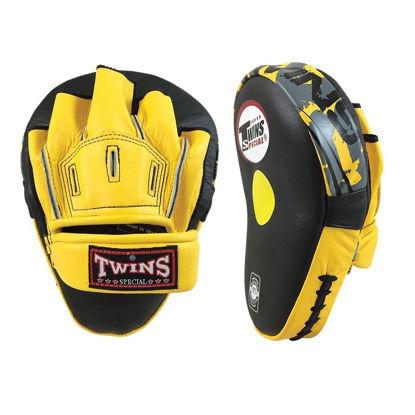 Изображение Лапы боксерские изогнутые TWINS желтый/черный один размер