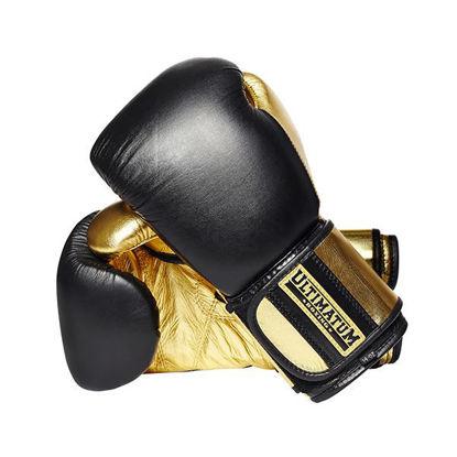 Боксерские перчатки на липучке, черный с золотым цвет