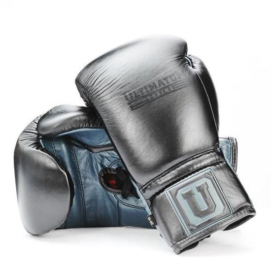 Боксерские перчатки со шнуровкой, цвет черный с синим