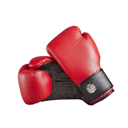 Красные с чёрным боксерские перчатки на липучке, бюджетно