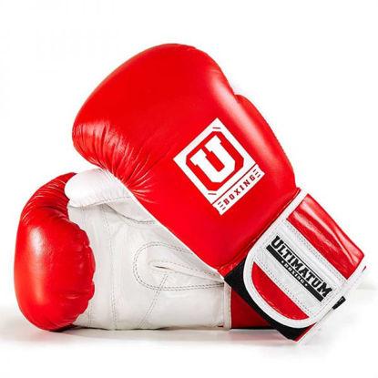 Спарринговые боксерские перчатки красный с белым