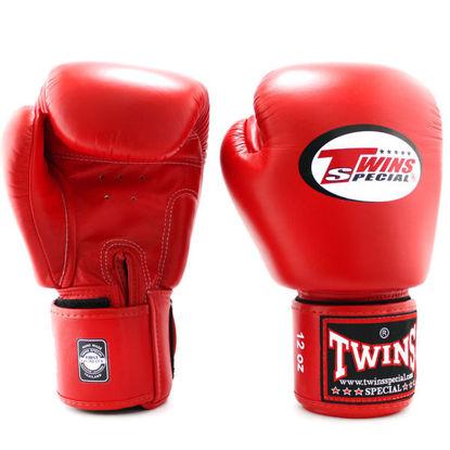 Тайский бокс перчатки Twins тренировочные на липучке красный
