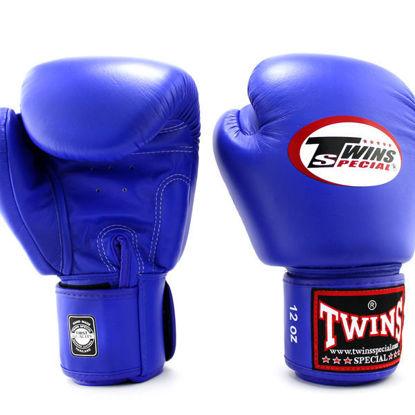 Тайский бокс перчатки Twins тренировочные на липучке синий