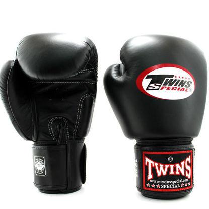 Тайский бокс перчатки Twins тренировочные на липучке черный