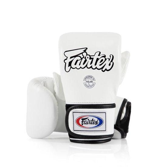 Тайский бокс перчатки Fairtex снарядные с закрытым пальцем на липучке белый