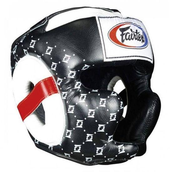 Тайский бокс шлем Fairtex спарринговый с защитой скул и подбородка на липучке черный