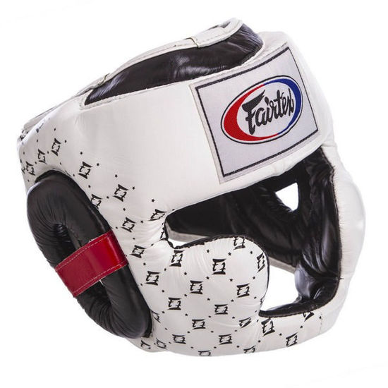 Тайский бокс шлем Fairtex спарринговый с защитой скул и подбородка на липучке белый