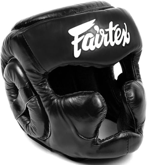 Тайский бокс шлем Fairtex тренировочный с защитой темени  скул и подбородка на липучке черный