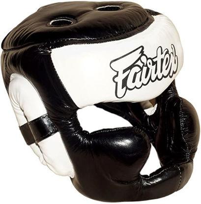 Тайский бокс шлем Fairtex тренировочный с защитой темени  скул и подбородка на липучке черный/белый