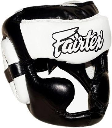Тайский бокс шлем Fairtex тренировочный с защитой скул и подбородка на липучке черный/белый
