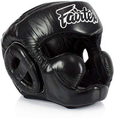 Тайский бокс шлем Fairtex тренировочный с защитой скул и подбородка на липучке черный