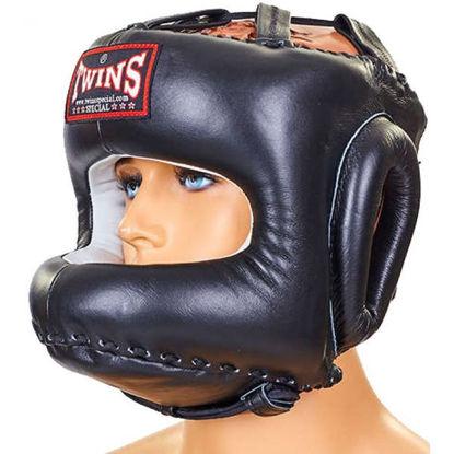 Тайский бокс шлем закрытый с бампером TWINS черный