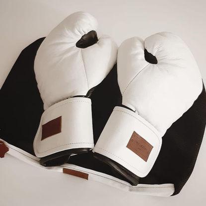 Кожаные боксерские перчатки «Старая школа для души» индивидуальный дизайн, белые